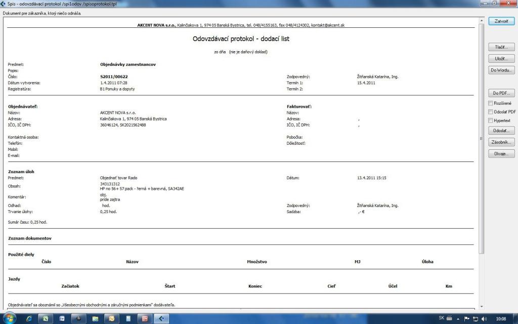 Odovzdávací protokol, generovaný zo spisu